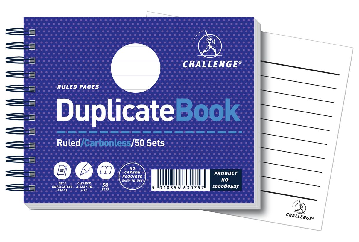 Image for Challenge Duplicate Book Carbonless Wirebound Ruled 50 Sets 105x130mm Ref 100080427 [Pack 5]