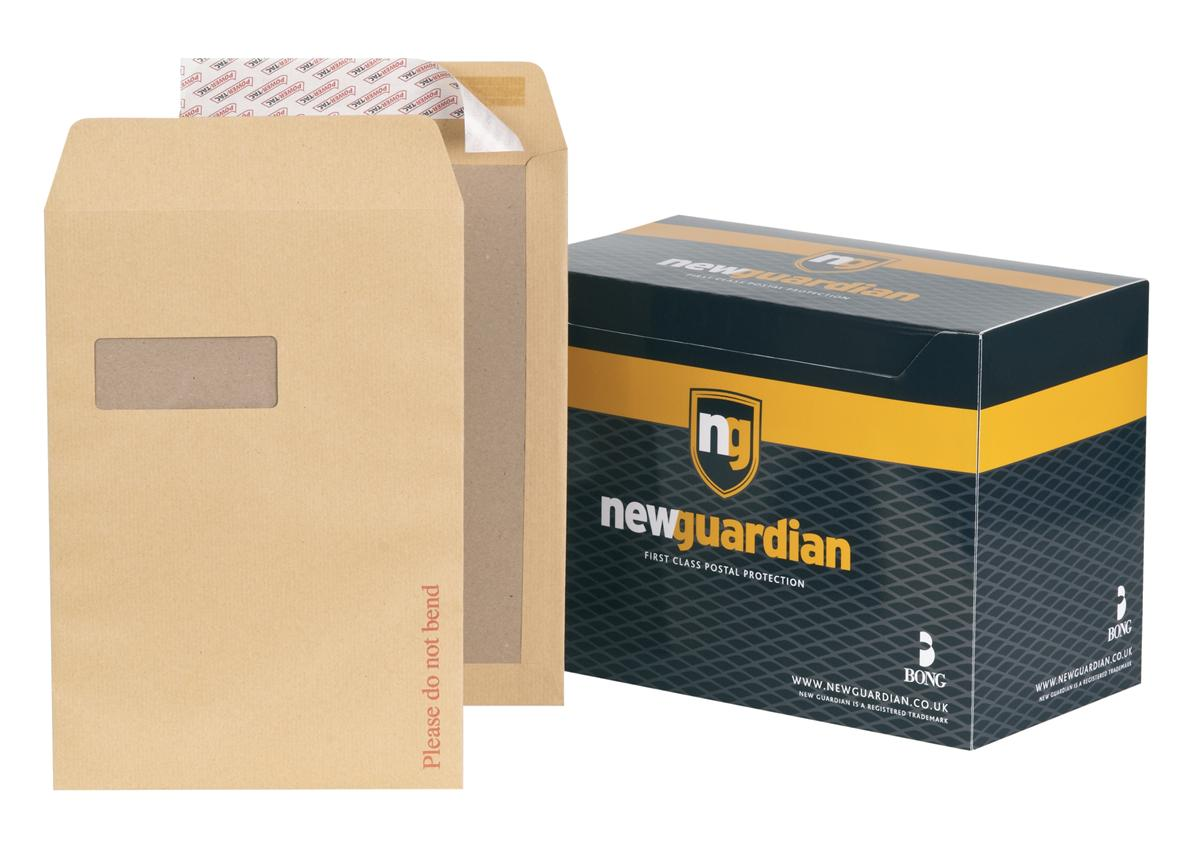 Image for New Guardian Envelopes Heavyweight Board Backed Window Peel and Seal Manilla C4 [Pack 125]