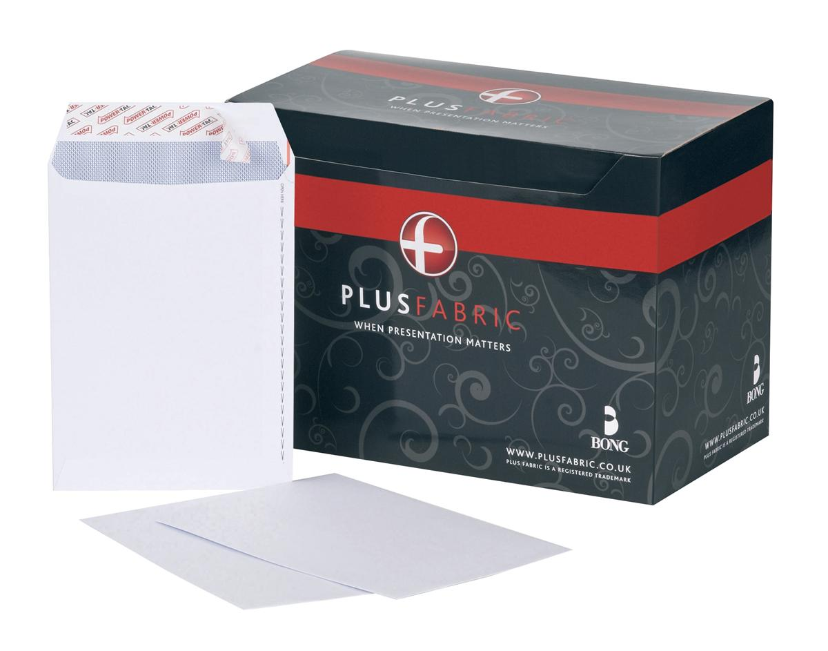 Image for Plus Fabric Envelopes Pocket Peel and Seal 110gsm C5 White [Pack 500]
