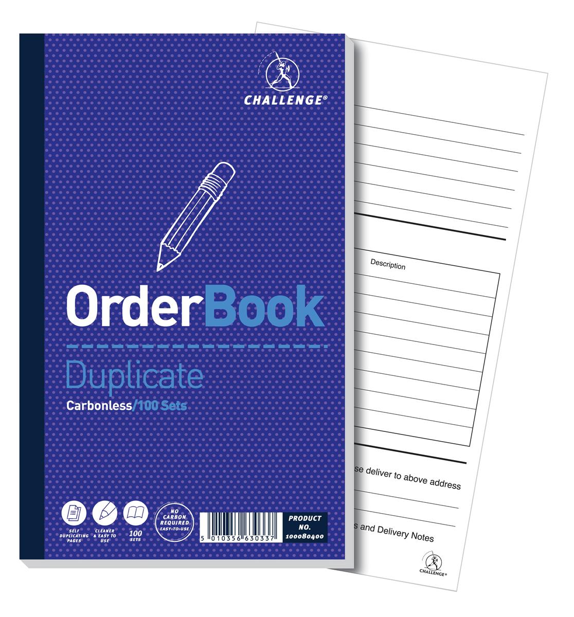Image for Challenge Duplicate Book Carbonless Order 100 Sets 210x130mm Ref 100080400 [Pack 5]