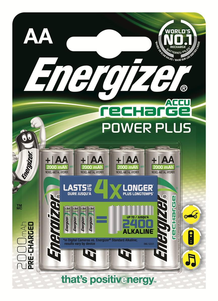 Image for Energizer Battery Rechargeable NiMH Capacity 2000mAh HR6 1.2V AA Ref E300626700 [Pack 4]