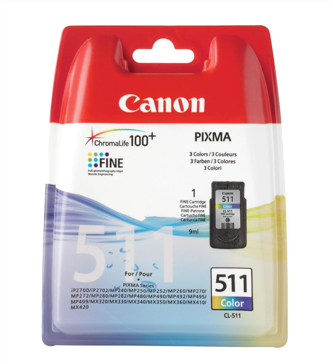 Canon CL-511 Inkjet Cartridge 244pp 9ml Tri-Colour Ref 2972B001AA