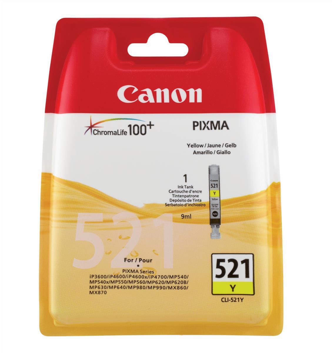 Canon CLI-521Y Inkjet Cartridge Page Life 477pp 9ml Yellow Ref 2936B001AA