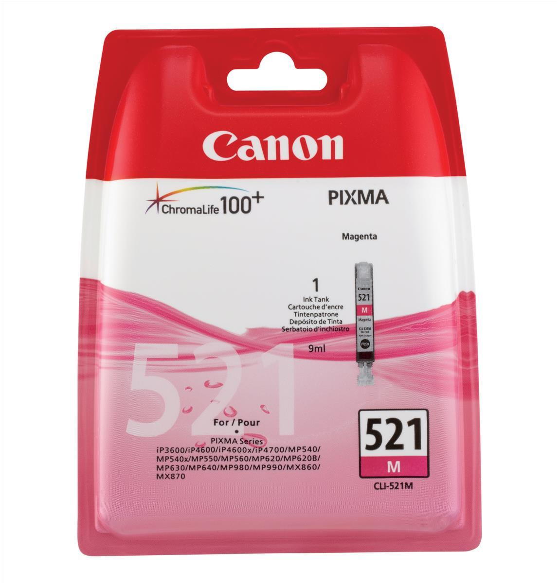 Canon CLI-521M Inkjet Cartridge Page Life 450pp 9ml Magenta Ref 2935B001AA