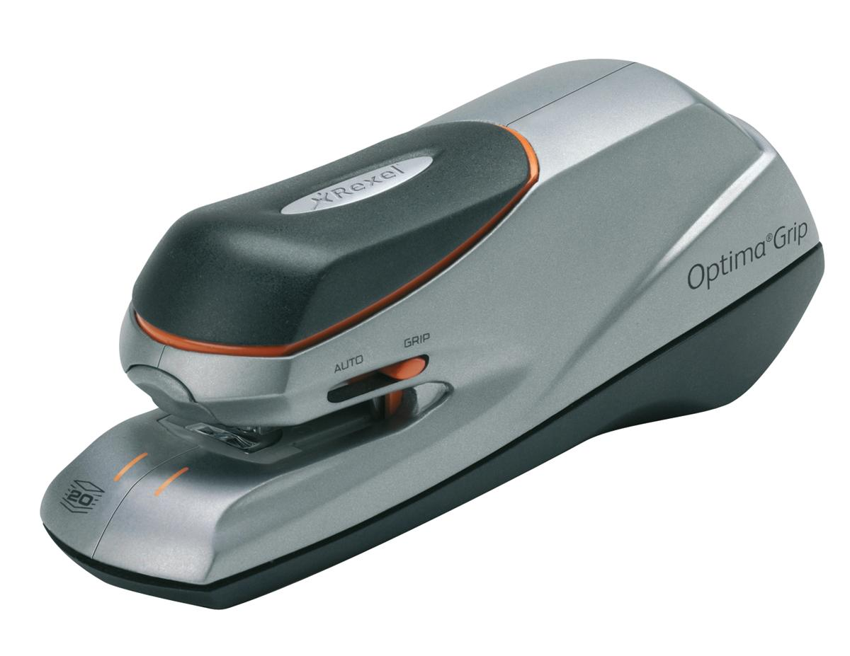 Rexel Optima Grip Electric Stapler Mains or 6x AA Battery No. 56 26/6 Capacity 20x 80gsm Ref 2102348