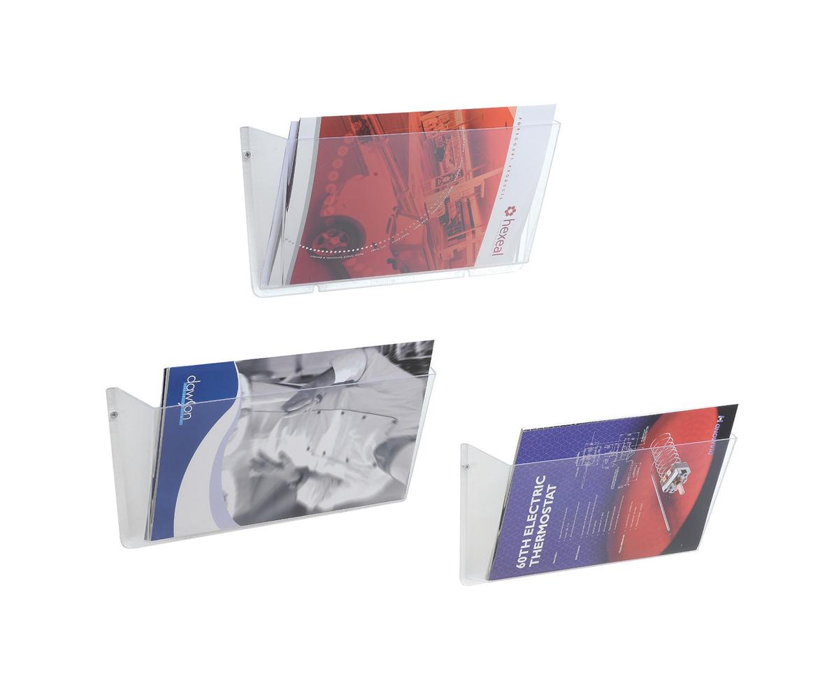 Image for Literature Wall Pockets Unbreakable with Brackets Landscape A4 Crystal [Pack 3]