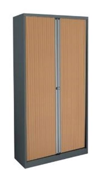 Image for Bisley A4 EuroTambour Including 1 Shelf W1000xD470xH1000-1015mm Beech Shutters Ref WTB1010/1S.BC.