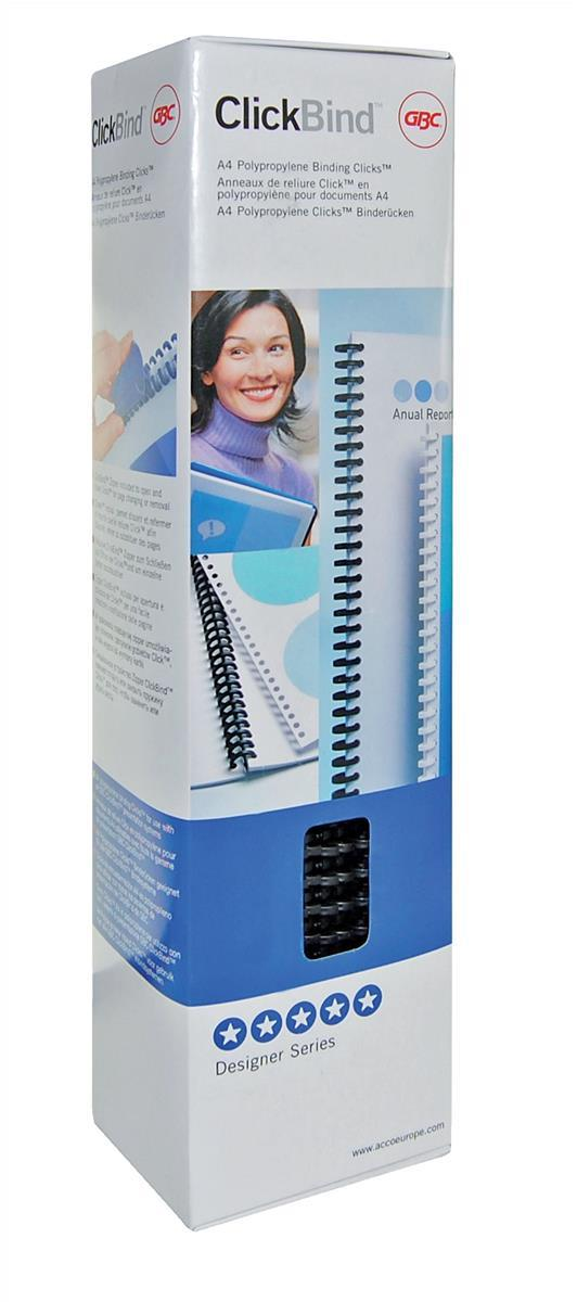 GBC Clicks Binding Comb Ring Coils 34 Ring for 95 Sheets 12mm Frost Black Ref 388064E [Pack 50]