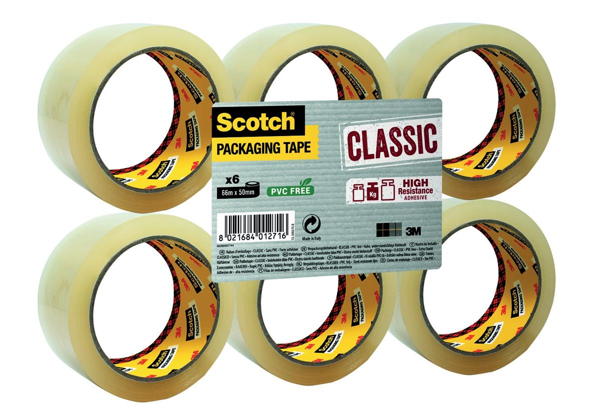 Image for Scotch Classic Packaging Tape W50mmxL66m Clear Ref CL5066F6T [Pack 6]