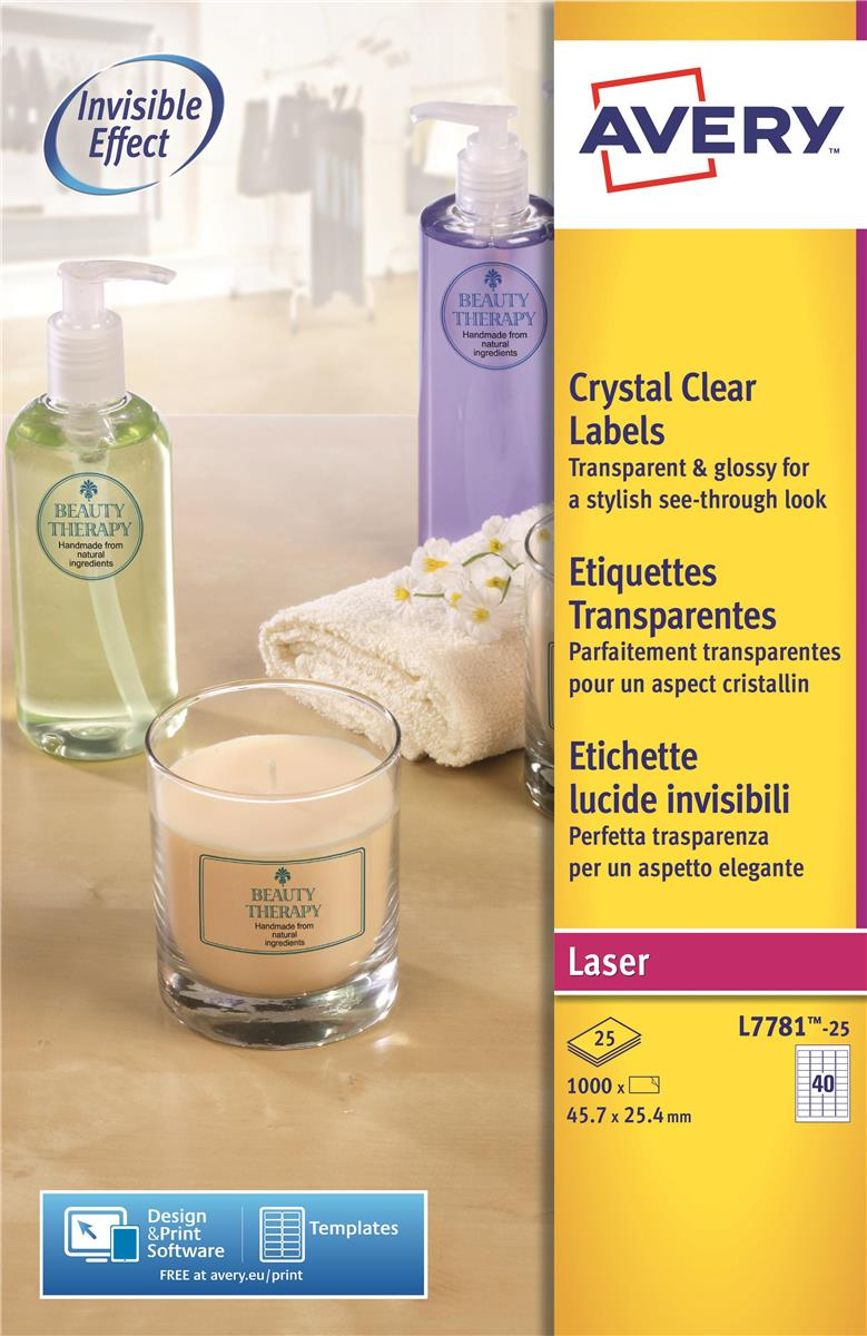 Image for Avery Crystal Clear Labels Laser Durable 40 per Sheet 45.7x25.4mmTransparent Ref L7781-25 [1000 Labels]