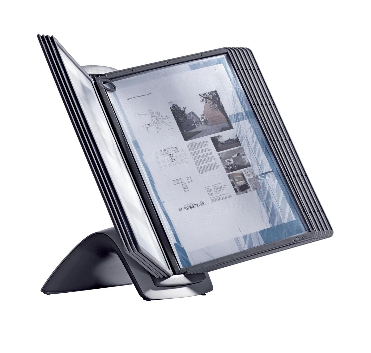Image for Durable Display System Table Unit Contoured Weighted Base and 10 Panels A4 Ref 585501