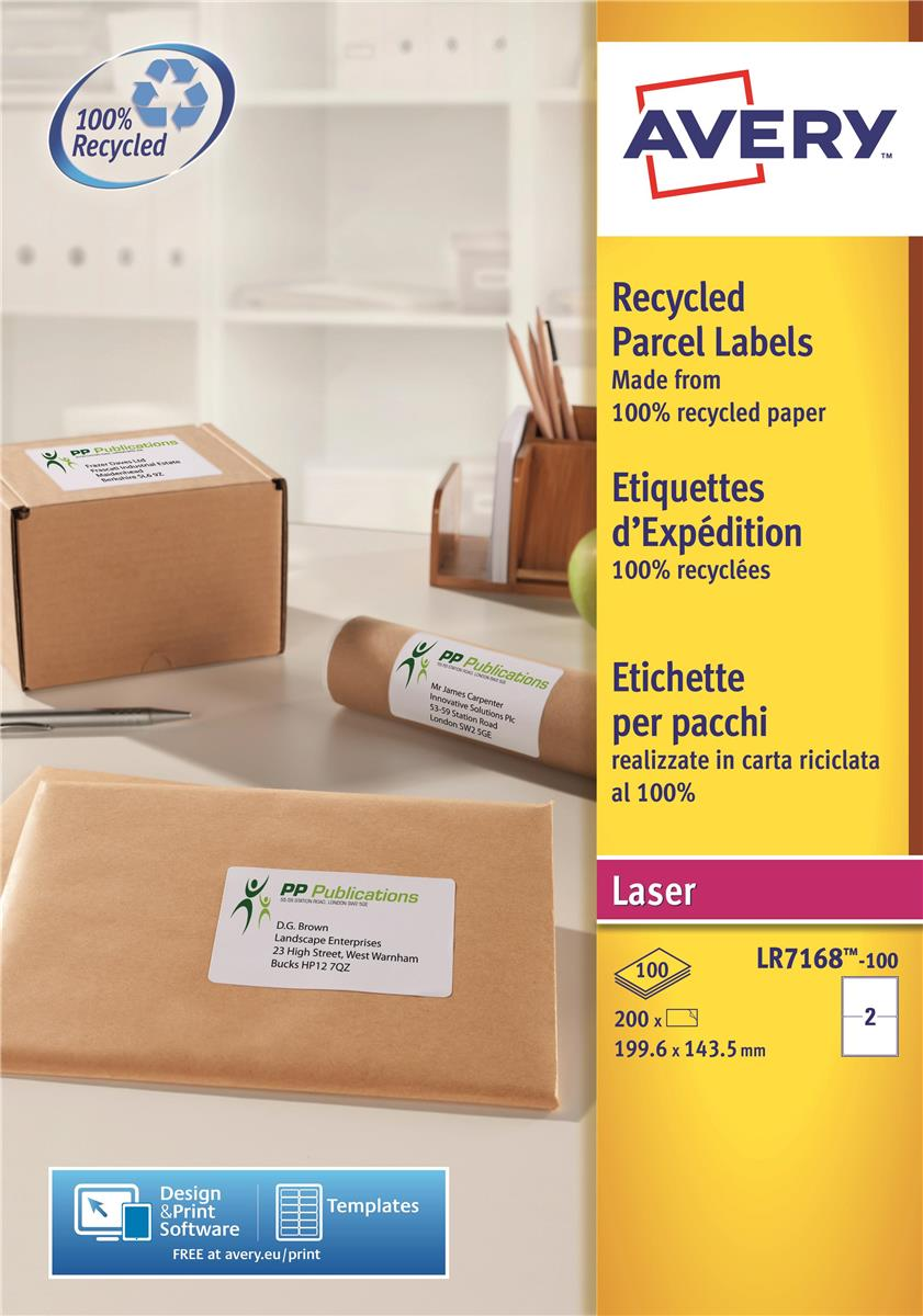 Image for Avery Addressing Labels Laser Recycled 2 per Sheet 199.6x143.5mm White Ref LR7168-100 [200 Labels]