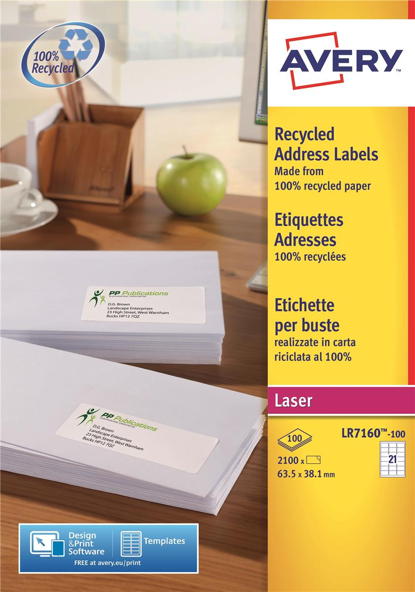Avery Addressing Labels Laser Recycled 21 per Sheet 63.5x38.1mm White Ref LR7160-100 [2100 Labels]