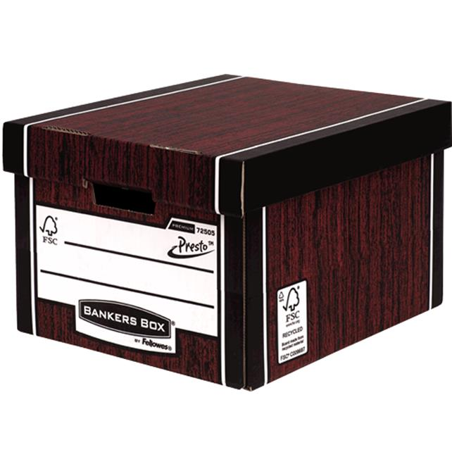 Image for Bankers Box by Fellowes Premium 725 Classic Storage Box Woodgrain Ref 7250502 [Pack 10]