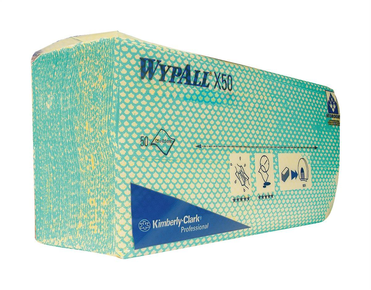 Wypall X50 Cleaning Cloths Absorbent Strong Non-woven Tear-resistant Green Ref 7442 [Pack 50]