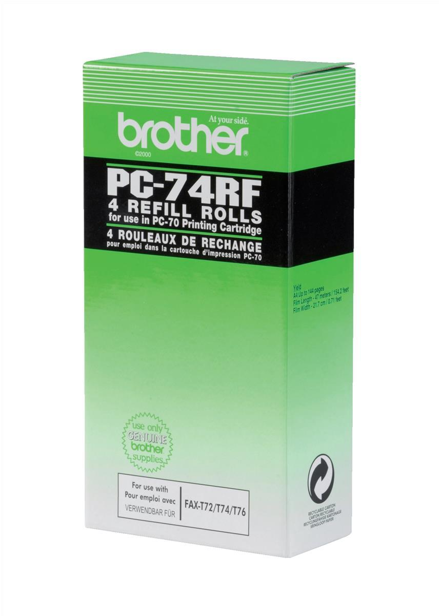 Brother Thermal Fax Ribbon Refill Page Life 144pp Black Ref PC74RF [Pack 4]