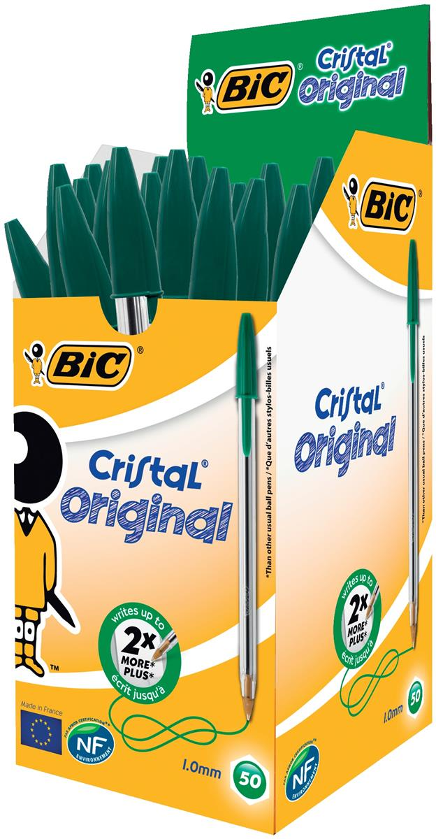 Bic Cristal Ball Pen Clear Barrel 1.0mm Tip 0.4mm Line Green Ref 8373629 [Pack 50]