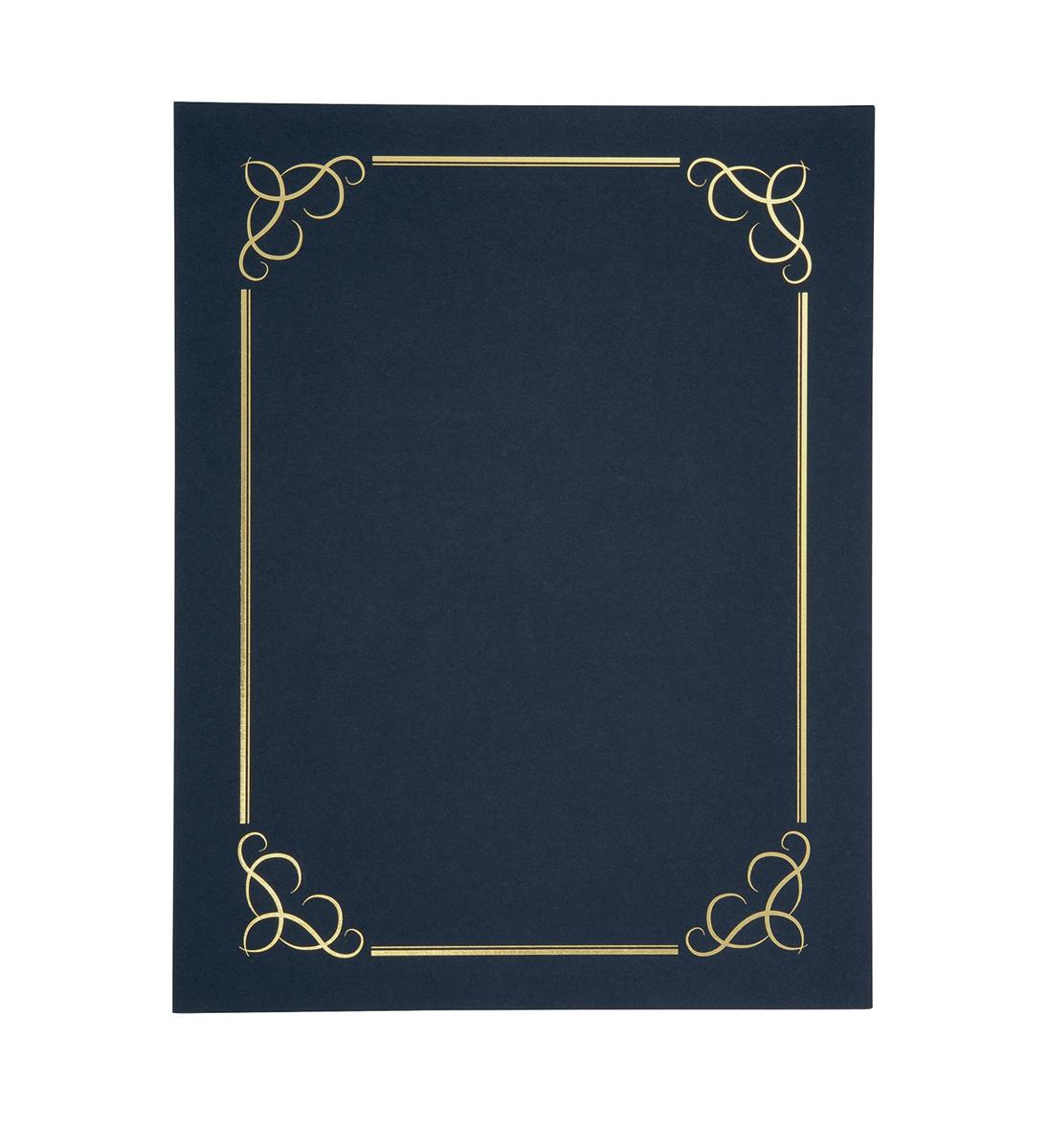 Image for Certificate Covers Linen Finish Heavyweight Card Stock 240g Blue [Pack 5]
