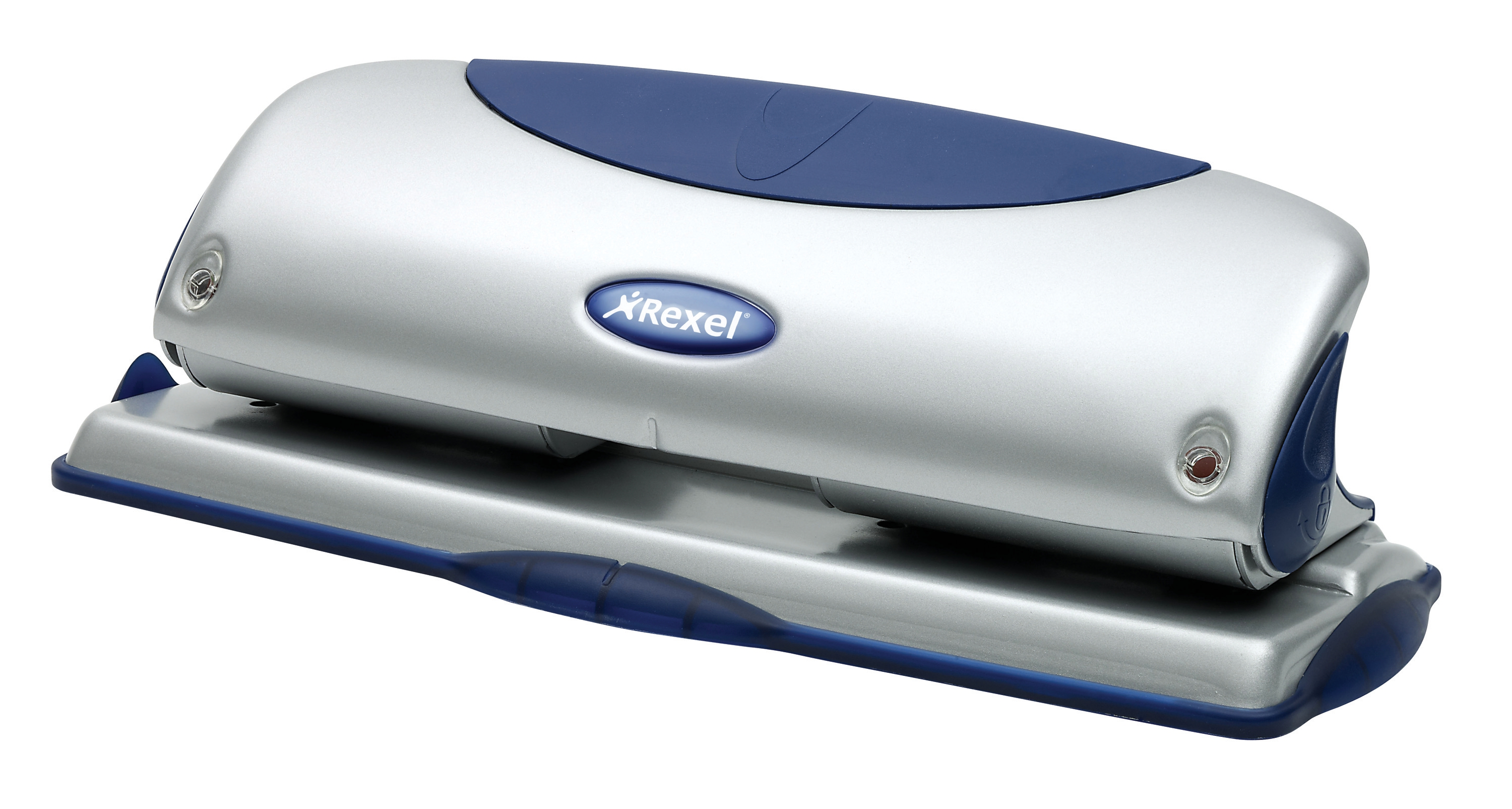 Image for Rexel P425 Punch 4-Hole Metal with Nameplate Capacity 25x 80gsm Blue and Silver Ref 2100754