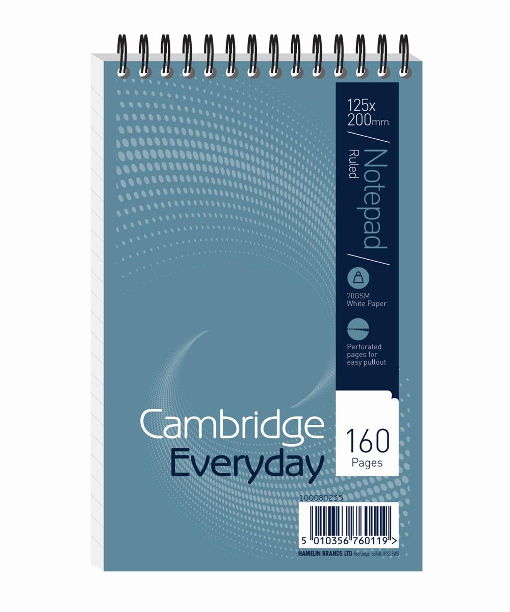 Image for Cambridge Notebook Wirebound Headbound Ruled 60gsm 160pp 125x200mm Ref 100080235 [Pack 10]