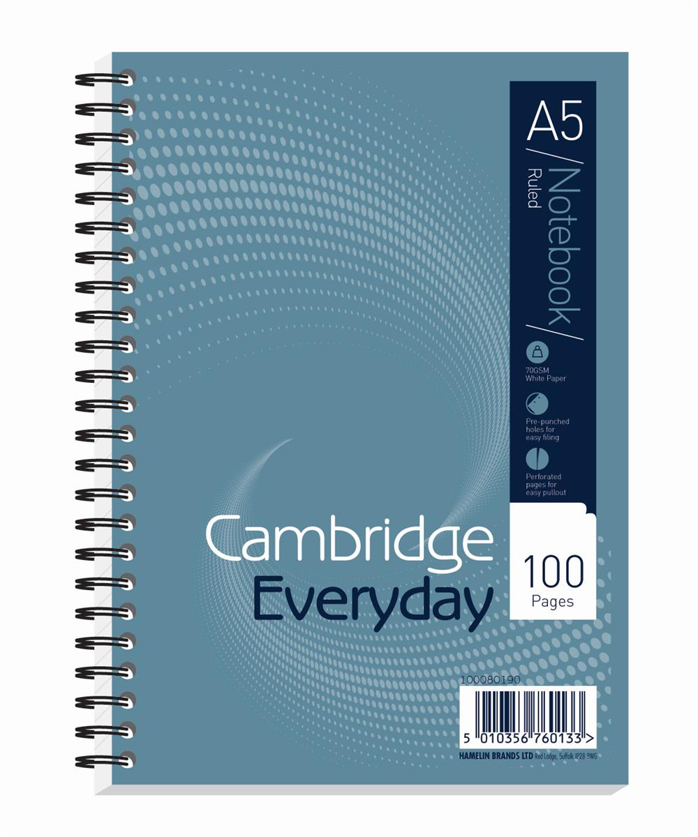 Image for Cambridge Notebook Wirebound Ruled Punched Perforated Margin 60gsm 100pp A5 Ref 100080190 [Pack 10]