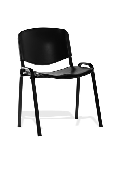 Image for Trexus Stacking Chair Stackable Pre-assembled Polypropylene Black