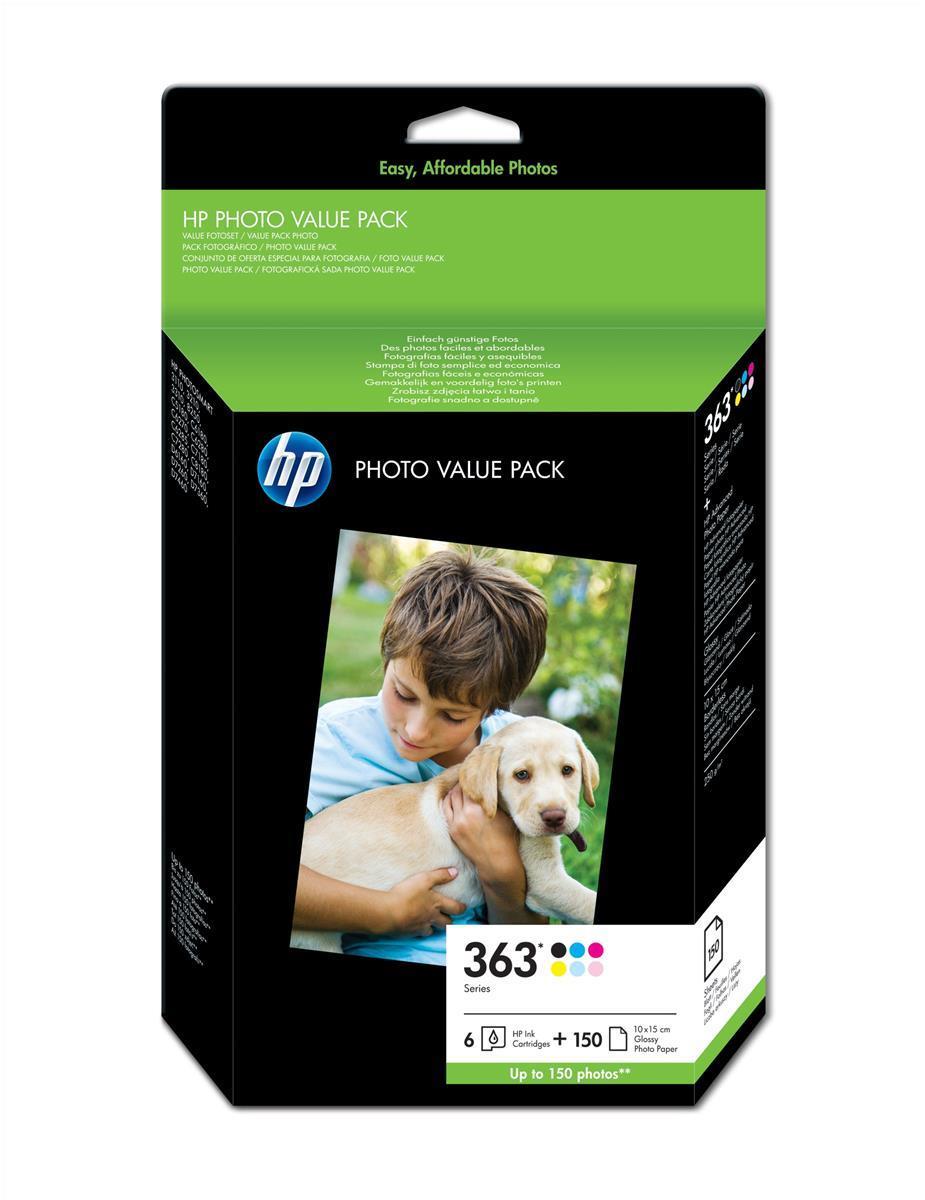 Hewlett Packard [HP] No. 363 Photo Pack Inkjet Cartridges + Paper 10x15cm 150 Sheet 6 Colour Ref Q7966EE
