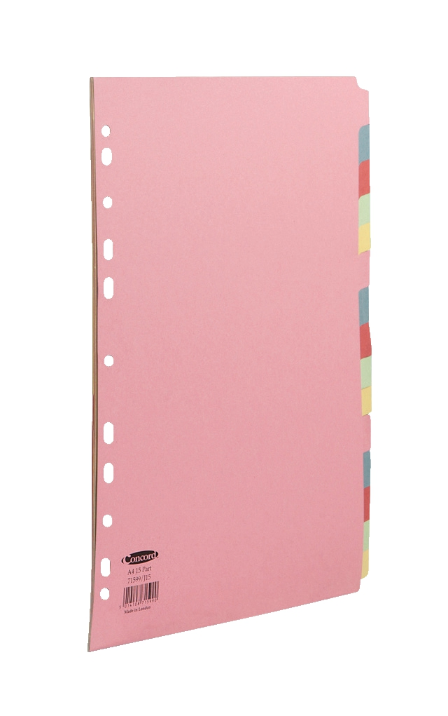 Image for Concord Subject Dividers 160gsm 15-Part A4 Assorted Ref 71599/J15