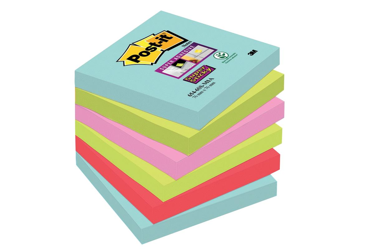 Post-It Super Sticky Notes Miami 76x76mm Aqua Neon Green Pink Poppy Ref 70005291227 [Pack 6]