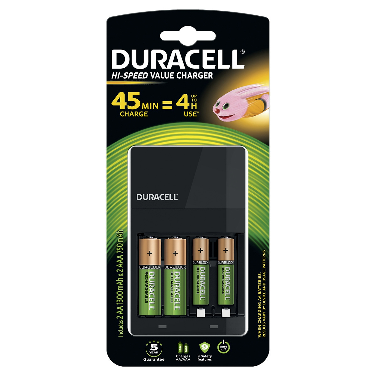 Image for Duracell 45 Minute Battery Charger Hi Speed for NiMH AA/AAA LED Charge Status Indicator Ref 81528873