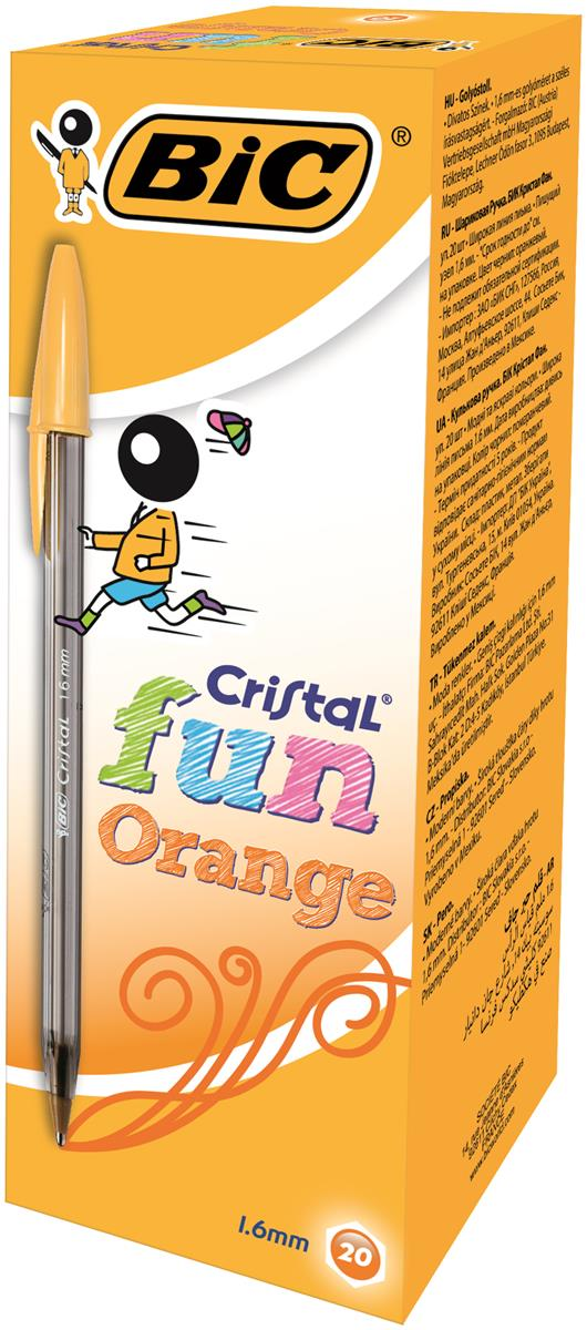 Image for Bic Cristal Fun Ballpoint Pen 1.6mm Tip and Line Width 0.6mm Orange Ref 937417 [Pack 20]