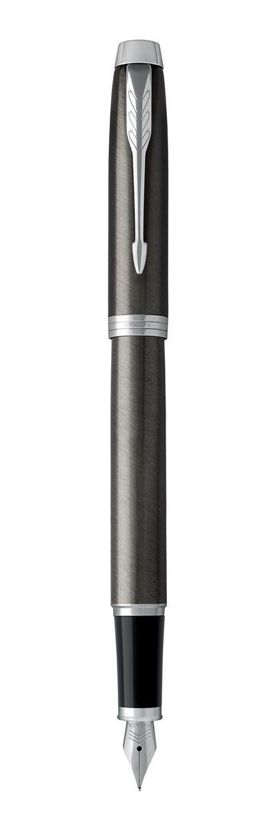 Image for Parker IM Fountain Pen Stainless Steel Body Dark Espresso Chrome Trim Blue Ink Ref 1931657