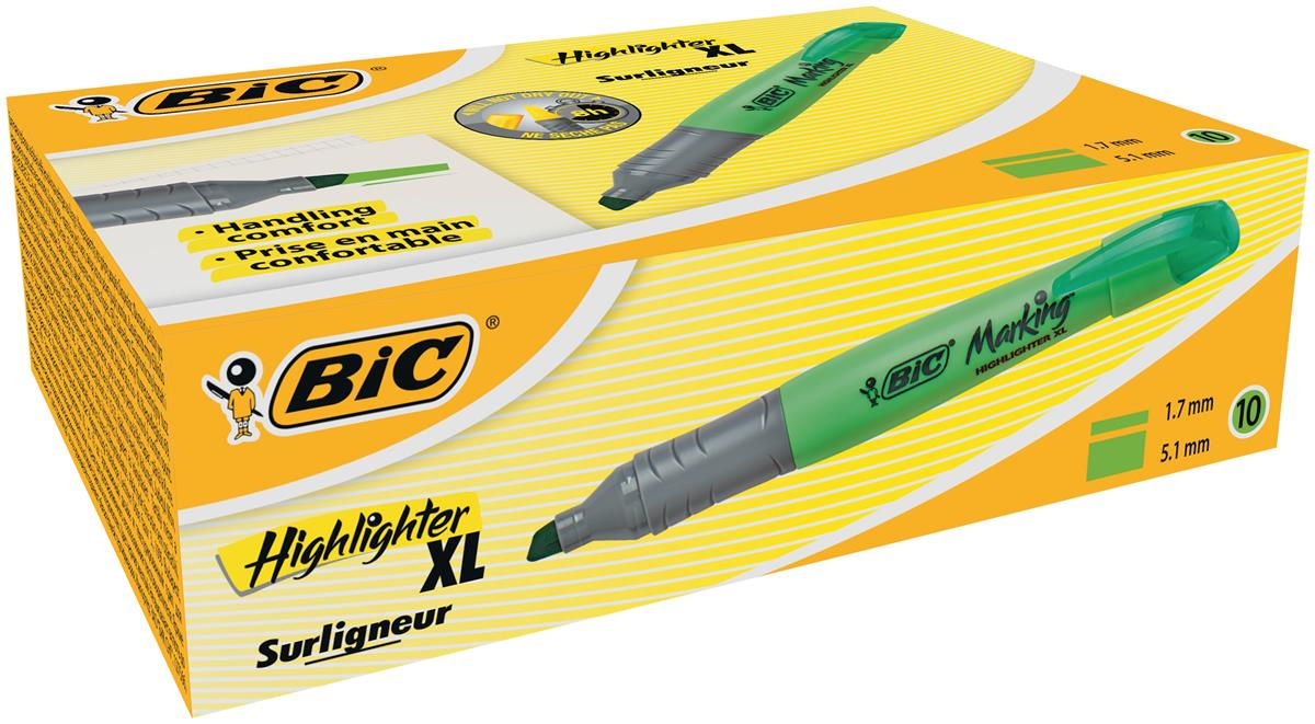 Image for Bic Grip Pen-shaped Highlighter Extra Large Green Ref 891398 [Pack 10]