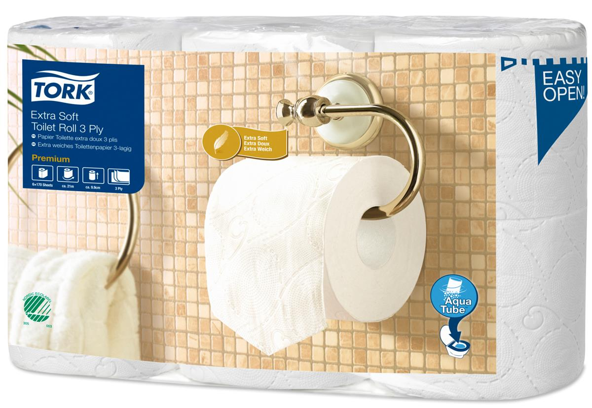 Tork Extra Soft Premium Toilet Roll 3-ply White Ref 110318 [Pack 6]