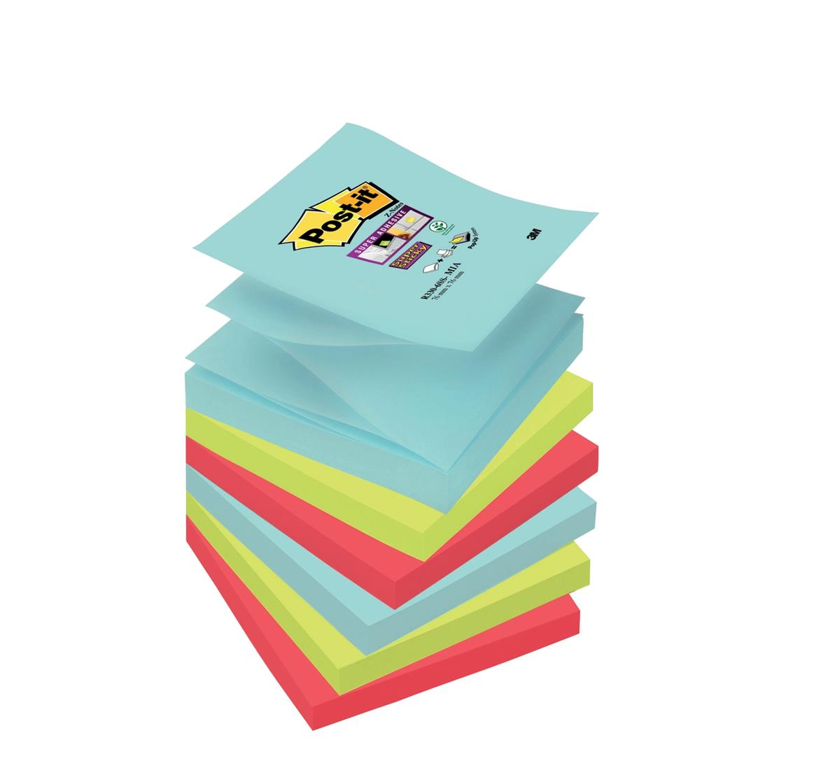 Image for Post-It Super Sticky Z-Notes Miami 76x76mm Aqua Neon Green Pink Poppy Ref 70005291649 [Pack 6]