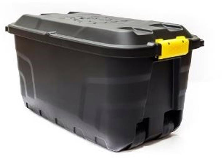 Image for Strata Storage Trunk with Lid and Wheels 75Litres W420xD770xH400mm Heavy Duty Black Ref XW441-BLK/YEL-SP