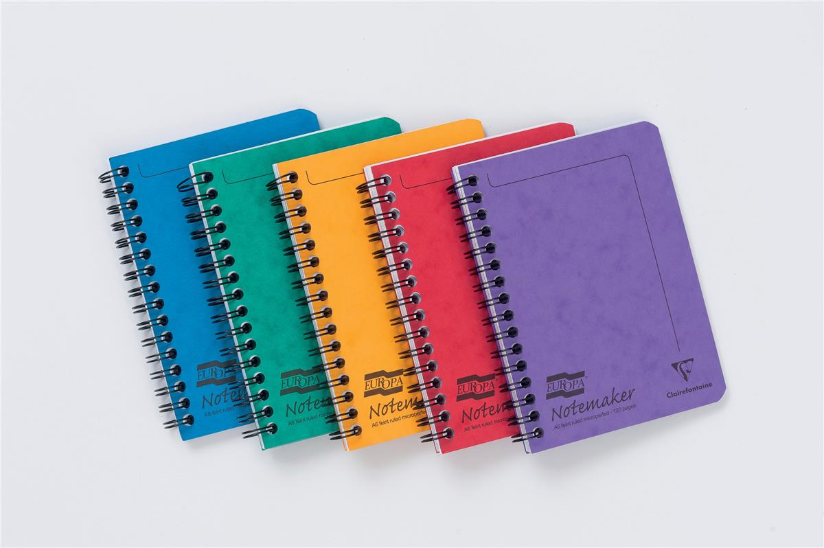 Image for Europa Notebook Twinwire Sidebound Ruled 90gsm 120pp Micro-perforated A6 Assorted Ref 482/1138Z [Pack 10]