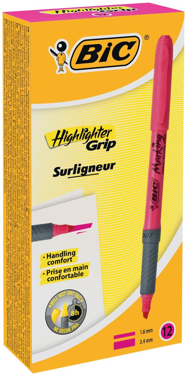 Image for Bic Grip Pen-shaped Highlighter Pink Ref 811934 [Pack 12]