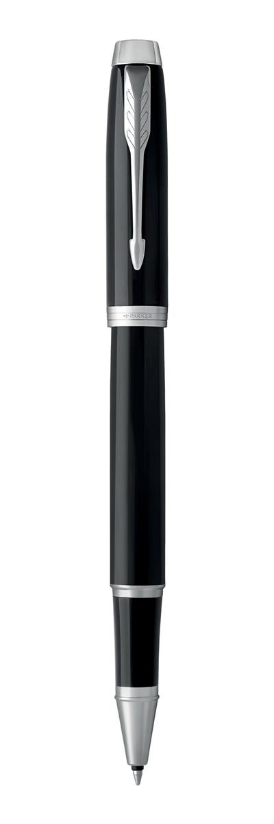 Image for Parker IM Rollerball Pen Lacquer Black Chrome Trim with Stainless Steel Nib black Ink Ref 1931658