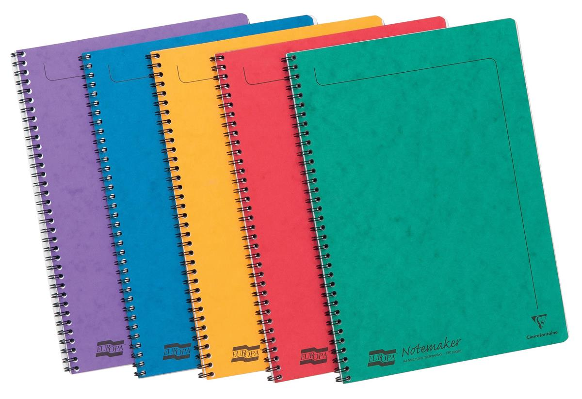 Image for Europa Notebook Twinwire Sidebound Ruled 90gsm 120pp Micro-perforated A4 Assorted Ref 4860Z [Pack 10]