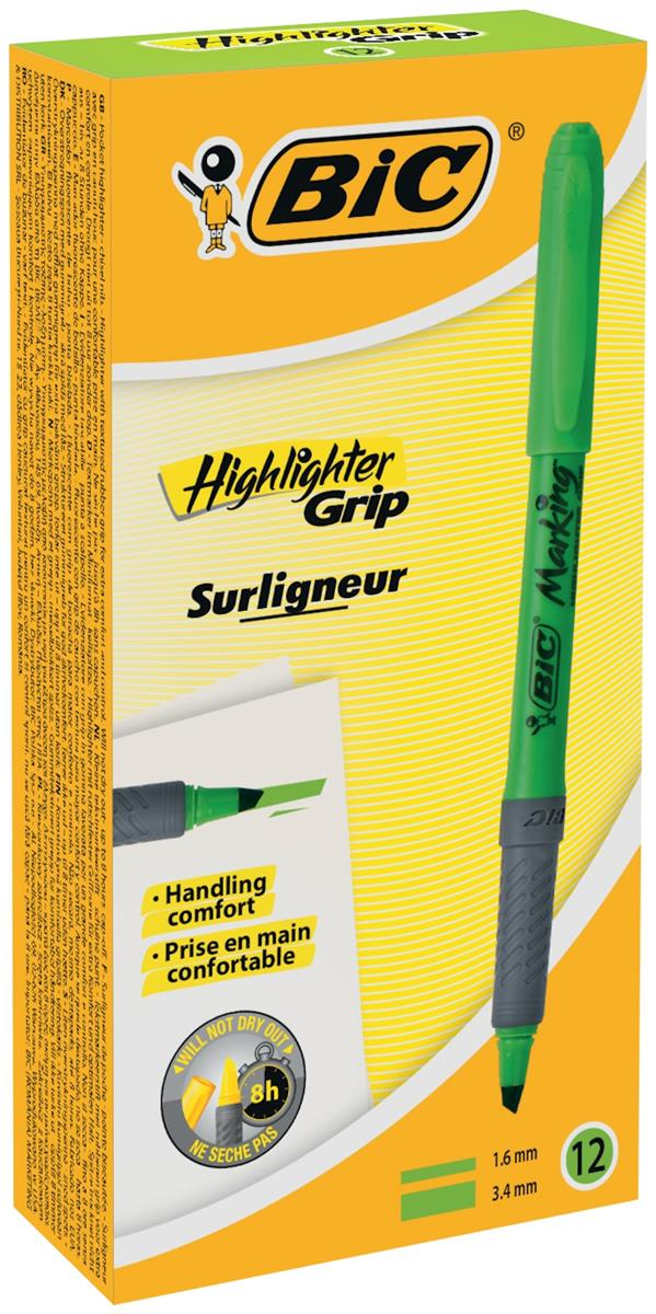 Image for Bic Grip Pen-shaped Highlighter Green Ref 811932 [Pack 12]