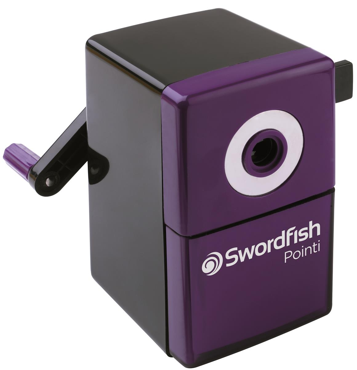Image for Swordfish Pointi Mechanical Pencil Sharpener Auto-stop 8mm dia. Desk Clamp Black/Purple Ref 40235