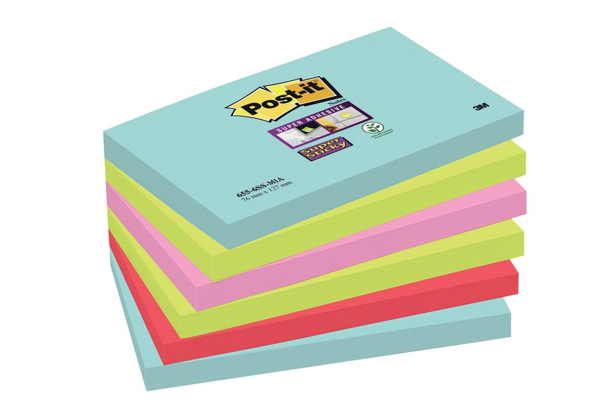 Post-It Super Sticky Notes Miami 76x127mm Aqua Neon Green Pink Poppy Ref 70005291631 [Pack 6]