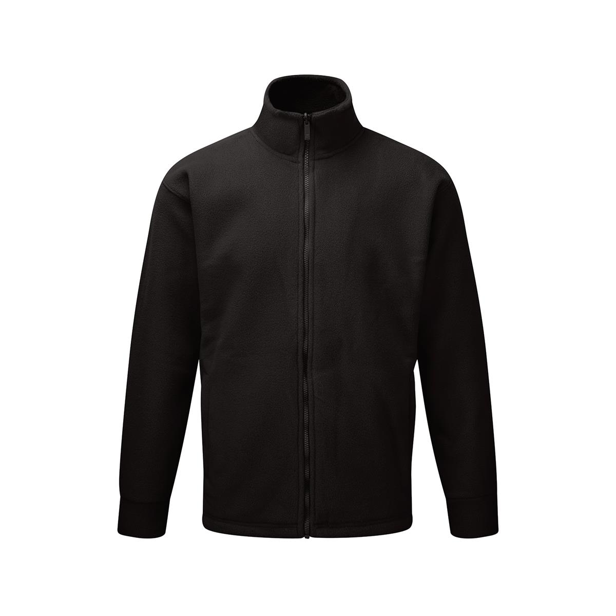 Basic Fleece Jacket Elasticated Cuffs and Full Zip Front Small Black 1-3 Days Lead Time
