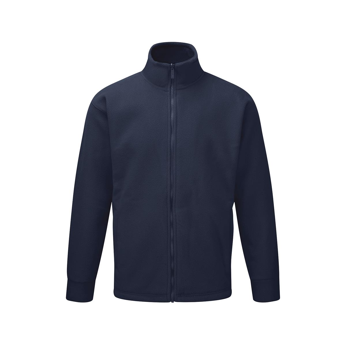 Image for Basic Fleece Jacket Elasticated Cuffs and Full Zip Front Large Navy 1-3 Days Lead Time