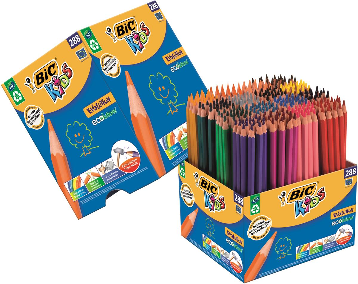 Image for Bic Kids Evolution Colouring Pencils Wood-free Resin Up to 24 Vibrant Colours Ref 907901 [Pack 288]