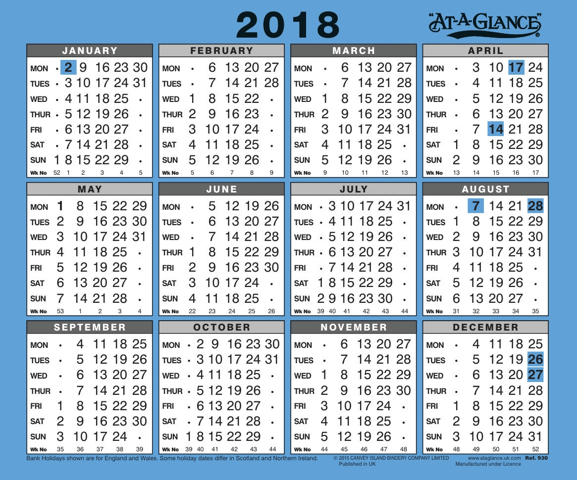 Image for At A Glance 2018 Wall Calendar Ref 930 2018