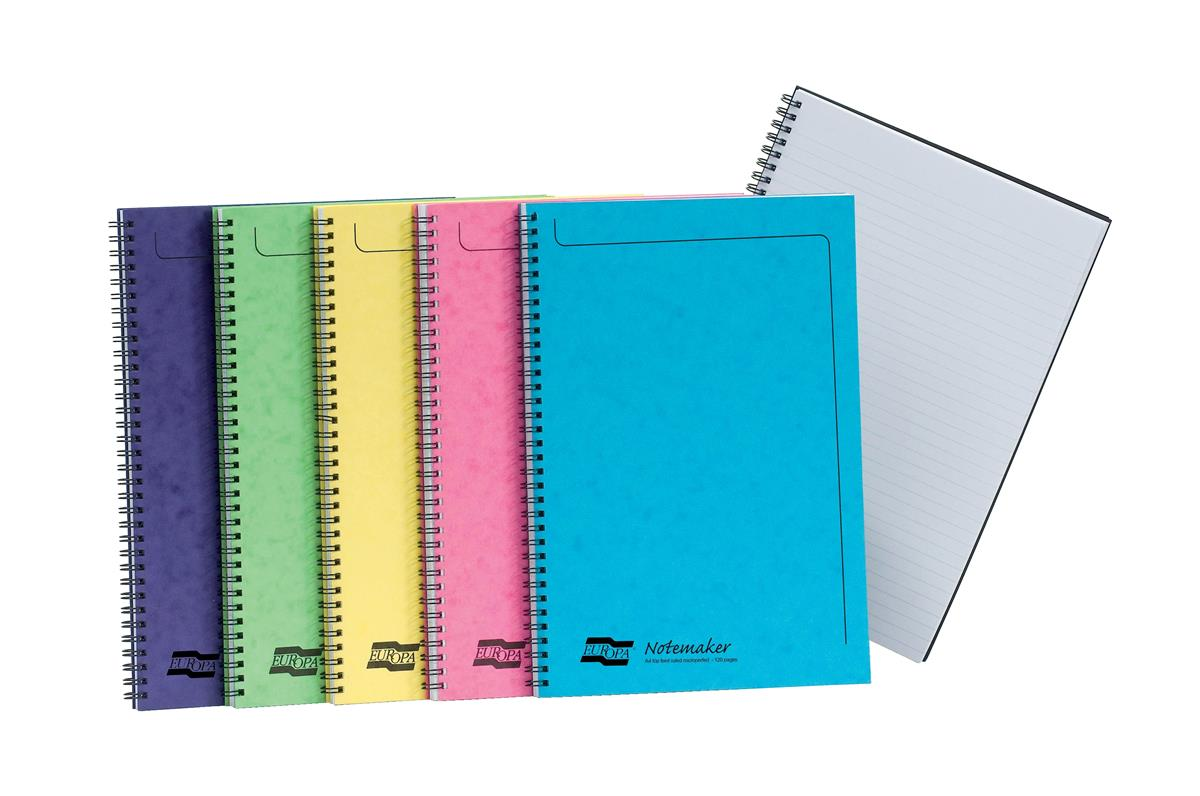Image for Europa Notebook Twinwire Sidebound Ruled 90gsm 120pp Micro-perforated A4 Assorted Ref 3154Z [Pack 10]