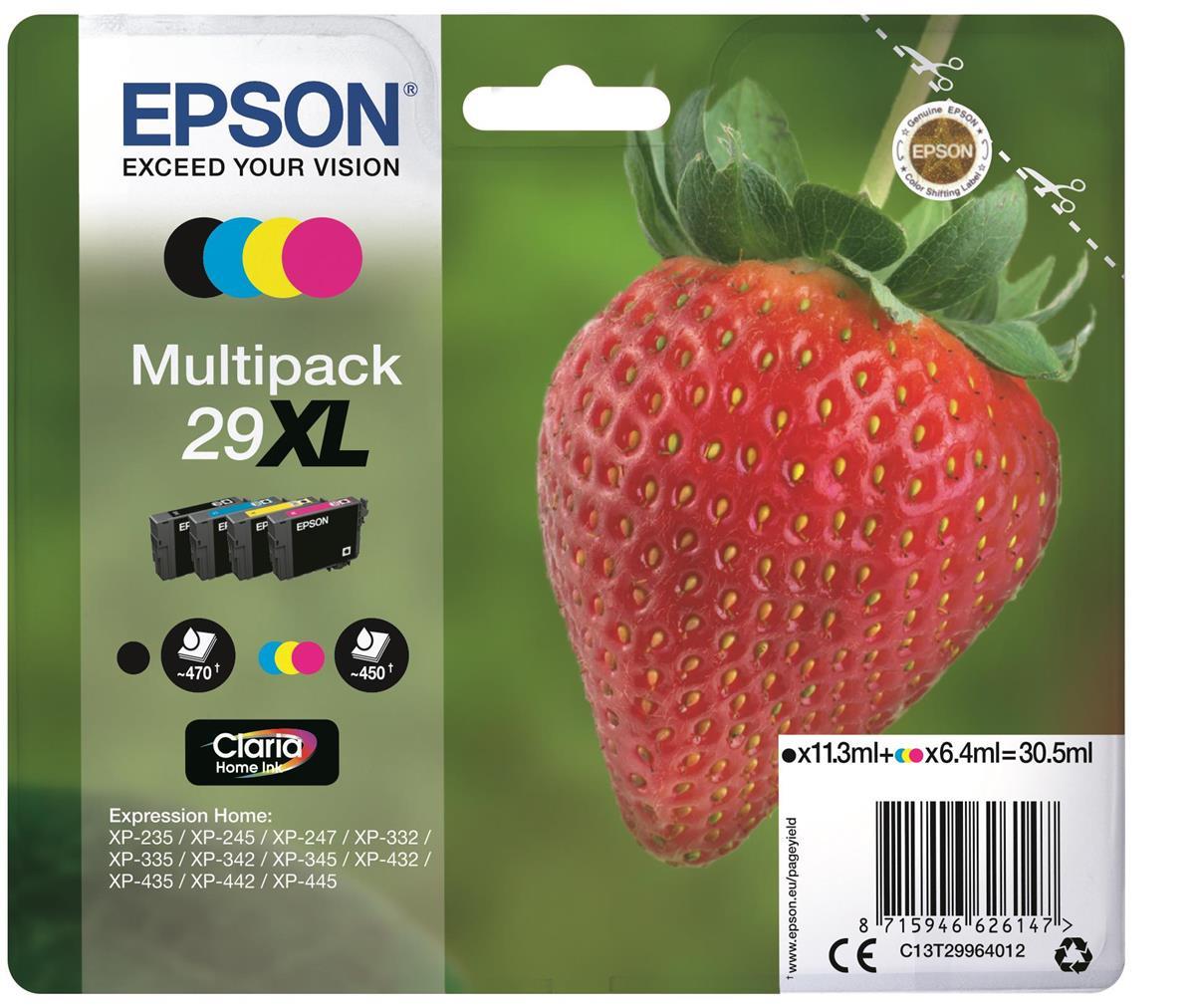 Epson No. 29XL InkJet Cartridge 470pp Black 450pp Colour CMYK Ref C13T29964012 [Pack 4]
