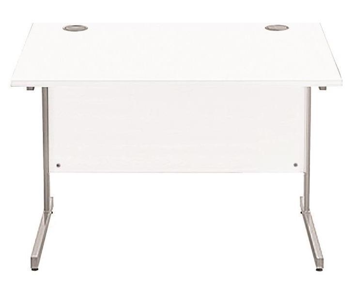 Image for Sonix Cantilever Desk Rectangular Silver Cantilever Leg 1000mm Polar White